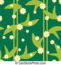 mønster, seamless, konstruktion, blomstrede, grønne, blomster