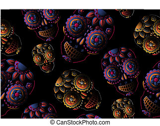 mønster, seamless, kranium, sukker
