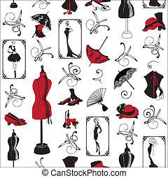 mønster, seamless, mode