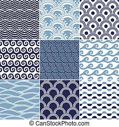 mønster, seamless, ocean vink