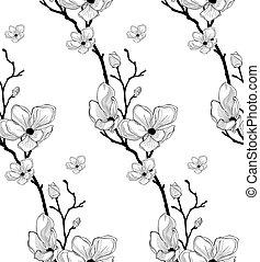 mønster, seamless, vektor, sort, kirsebær, stram, blomster