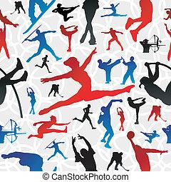 mønster, silhuetter, sport