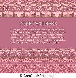 mønster, stamme, text., seamless, abstrakt, vektor, sted, baggrund, etniske, din