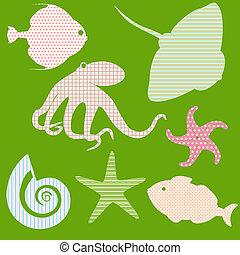 mønstre, fish, silhuetter, 3, sæt, enkel