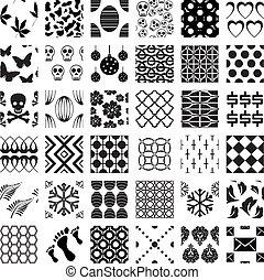 mønstre, geometriske, sæt, seamless, monochrome