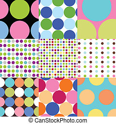 mønstre, sæt, polka, seamless, prik