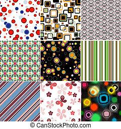 mønstre, sæt, seamless, farverig