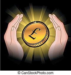 mønt, hænder