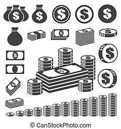 mønt, ikon, set., penge