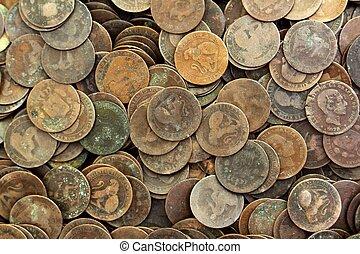 mønt, peseta, ægte, gamle, spanien, republik, 1937, valuta, og, cents
