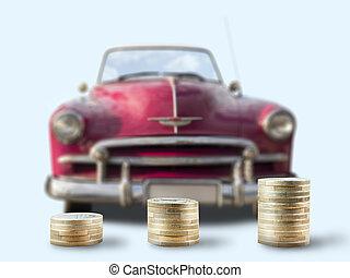 mønt, stacks, uden for, oldtimer, automobilen