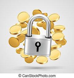 mønter, icon., genstand, guld, hængelås