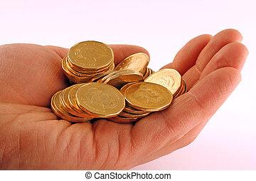 mønter, ind, hånd