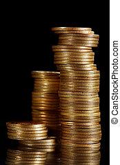 mønter, på, sort