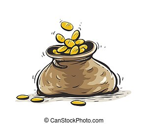 mønter., sæk, guld, hånd, drawn., fulde, illustration., vektor