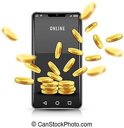 mønter., smartphone, illustration., guld, concept., vektor
