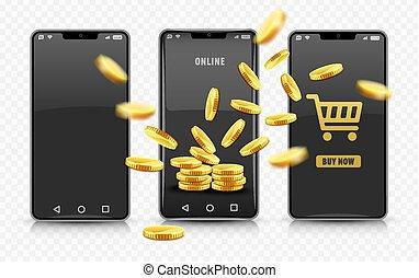 mønter., smartphone, indkøb, guld, concept., vector., online