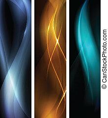 mørke, abstrakt, sæt, banner, bølge