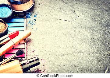 mørke, adskillige, makeup, produkter, baggrund