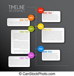 mørke, timeline, rapport, infographic, skabelon