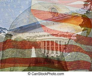 múltiplo, águila, compuesto, author., bandera, casa, fotos, declaration., tomado, blanco