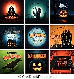 múltiplo, halloween, plano de fondo, cartel, anuncio, colección