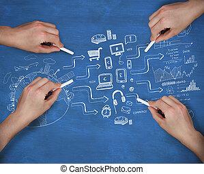 múltiplo, imagem composta, escrita, giz, mãos, brainstorm