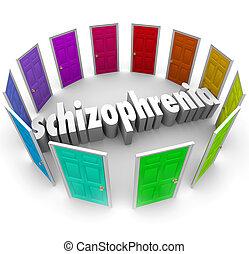 múltiplo, muchos, esquizofrenia, puertas, desorden, ...