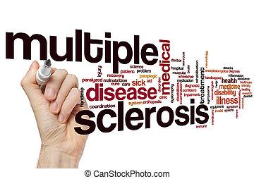 múltiplo, palavra, esclerose, nuvem