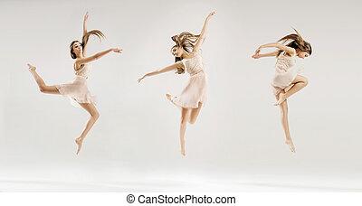 múltiplo, quadro, de, a, bailarino balé