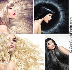 múltiplo, quadro, de, um, senhora, com, vário, coiffures