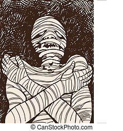 múmia, arrepiado