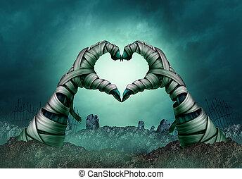 múmia, mão, forma coração