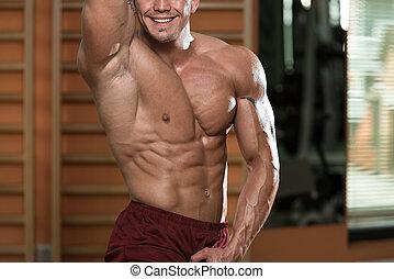 músculo abdominal, close-up