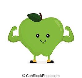 músculo, biceps., manzana, sonriente, fuerte, feliz, ...