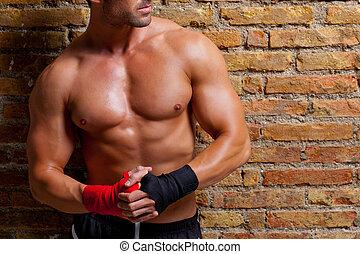 músculo, boxeador, formado, hombre, con, puño, venda
