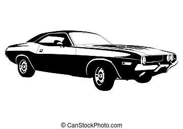 músculo, coche, norteamericano