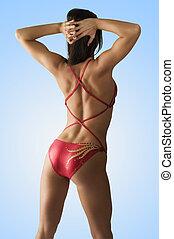 músculo, espalda, lado
