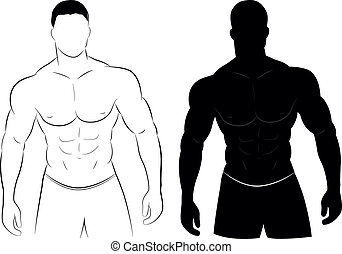 músculo, silueta, hombre