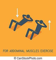 músculos abdominais, exercícios, homem, símbolo, vetorial, ilustração, icon.