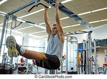 Músculos,  Abdominal, Pare, doblar, barra, hombre