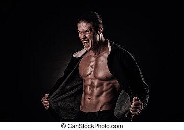 músculos, apertado, abertos, experiência., bodybuilder, seu, boca, retrato, gritando, pretas