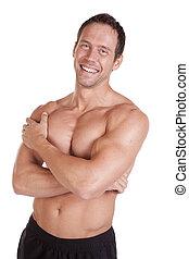 músculos, brazos cruzados, hombre