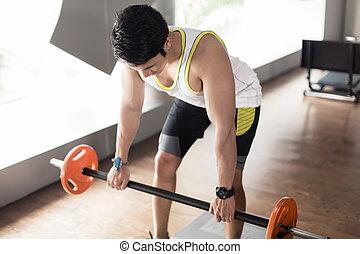 músculos, dobrado, exercitar, costas, barbell, remar, homem