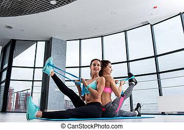músculos, estera, trabajando, sentado, gimnasio, extensión,...