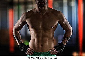 músculos, físico, hombre