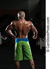 músculos, flexionar, maduras,  Muscular, homem