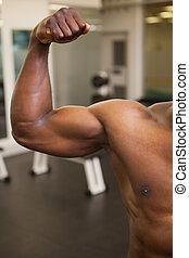 músculos, flexionar,  Muscular, homem