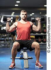 músculos, gimnasio, joven, dumbbells, doblar, hombre