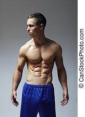 músculos, jovem, muscular, flexionar, braço, homem